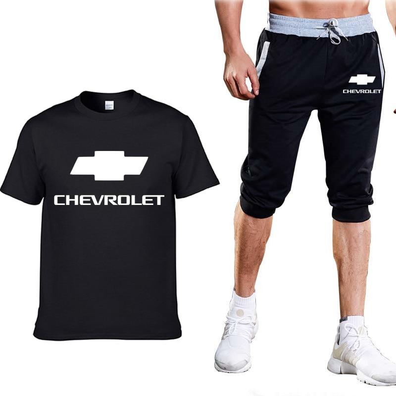 Camisetas de moda de verano para hombre, camisetas con logo de Chevrolet, estampado HipHop, camisetas de algodón de manga corta de alta calidad, pantalones, traje, ropa para hombre