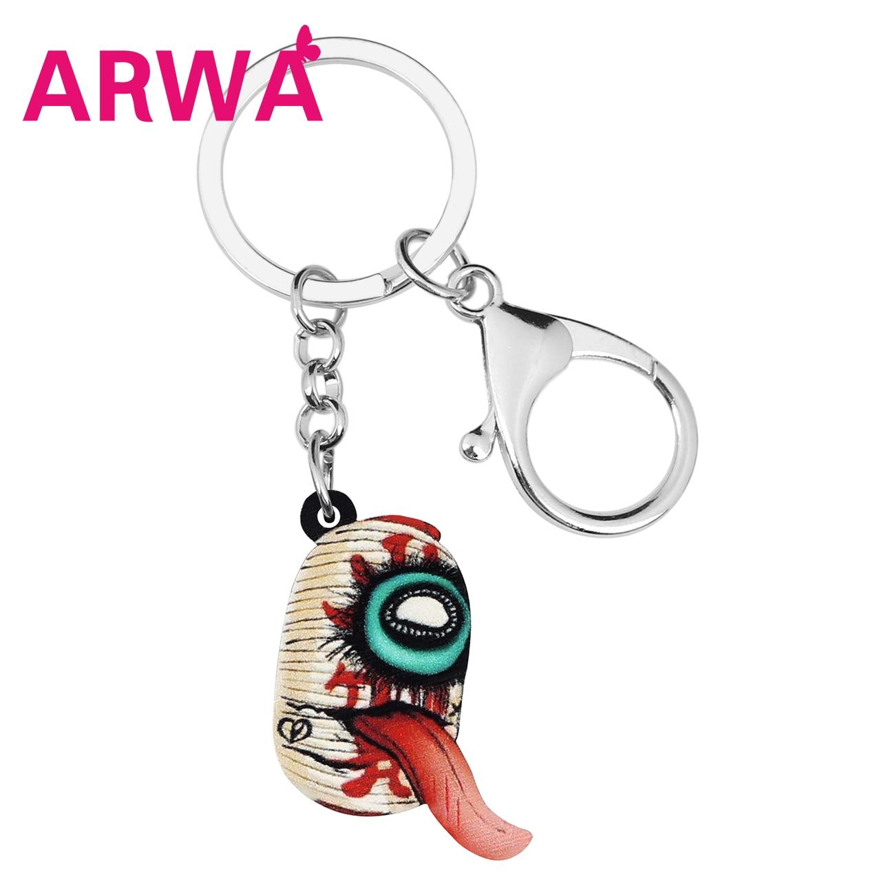 Bonsny acrílico Halloween Horror ojo linterna lengua llaveros anillos bolsa coche cartera decoración llavero mujer chica regalo accesorio