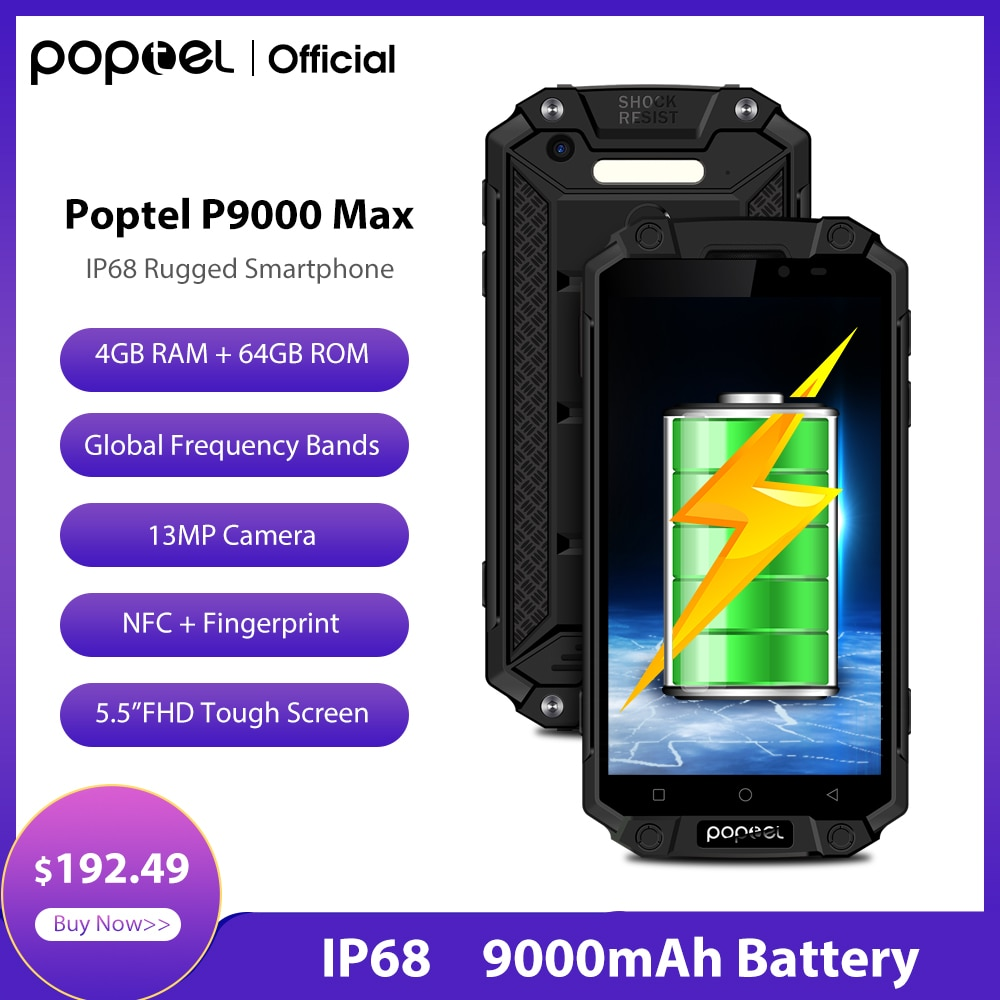 Hot-Selling Poptel P9000max Rugged Smartphone Power Bank Phone 9000mah 4GLTE 64G NFC for Outdoor Camping Office Big Battery