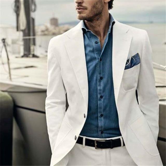 Повседневный деловой летний костюм на заказ, летний деловой костюм для вечеринки, мужской тонкий костюм из двух предметов (пиджак + штаны)