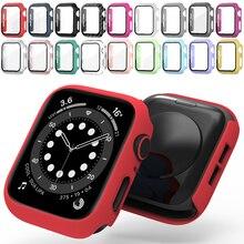 Cristal + funda para iWatch, funda para Apple Watch, 44mm, 42mm, 40mm, 38mm, Serie 6, 5, 4, 3, 2, 1, SE, accesorios protectores