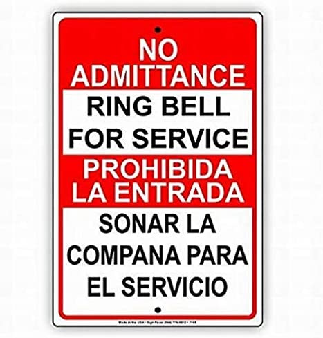 Timbre metálico de estaño para El Servicio, señal de No admisión, para Entrada, Sonar, La Compana, El Servicio, novedad
