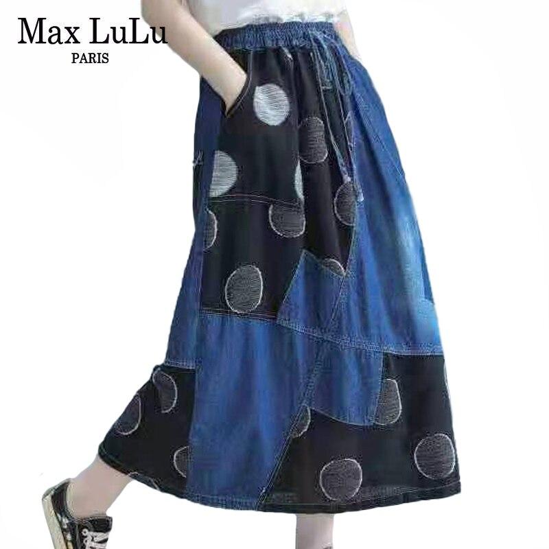 ماكس لولو-تنورة جينز نسائية ، نمط الربيع ، منقطة ، برباط ، مرقع ، ملابس مرنة عتيقة ، مقاس كبير ، 2021