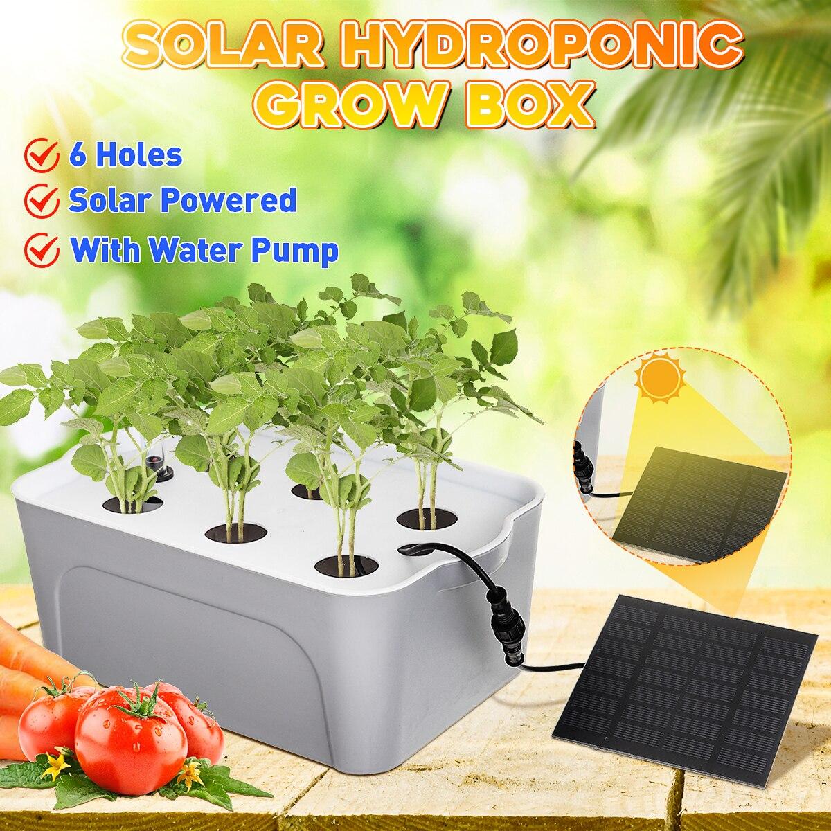 Jardim 6 buracos solar hidropônico plantio plantio de vegetais plantador de plantas kit caixa crescer planta planta bomba de água varanda berçário pote