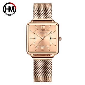 Classic Vintage Green Simple Women's Wristwatch Rose Gold Square Dial New Fashion Business Waterproof Watch Japanese Movement