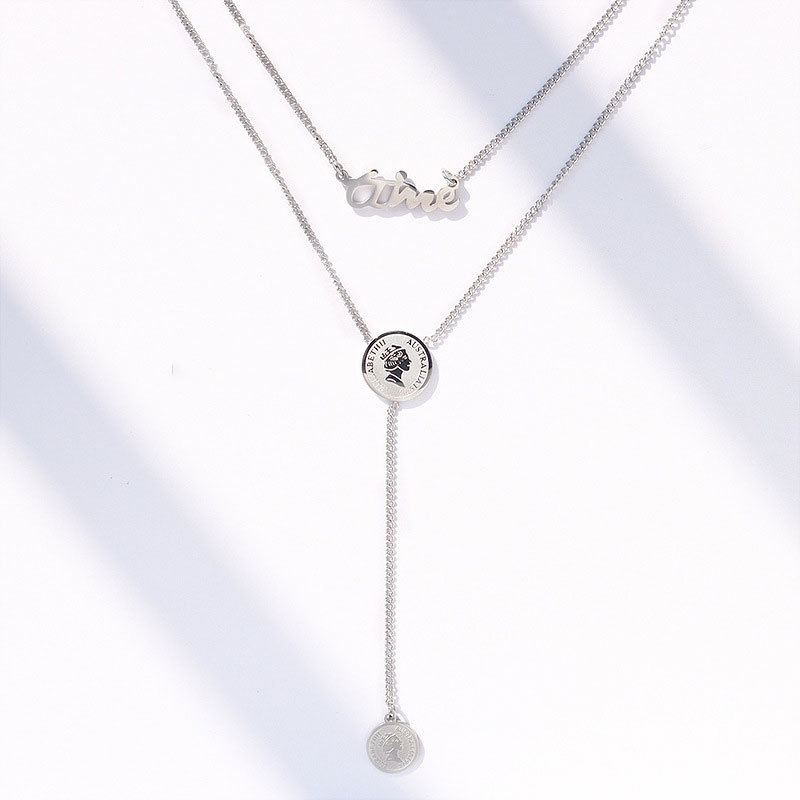 Stainless Steel Tassel Queen Portrait Round Pendant Multi Layer Necklace Collar Chain Gift For Women