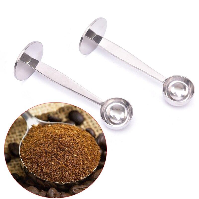 Cucharas de medición de acero inoxidable, soporte para cuchara de café en polvo, cuchara dosificadora, utensilios para café y té, tampones para café