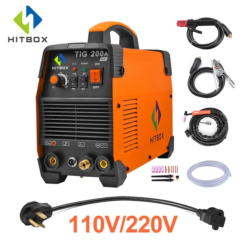Soldador HITBOX Tig WSE 200A TIG MMA 110V 220V argón Tig 2T 4T máquina de soldadura de Control de acero inoxidable tecnología IGBT
