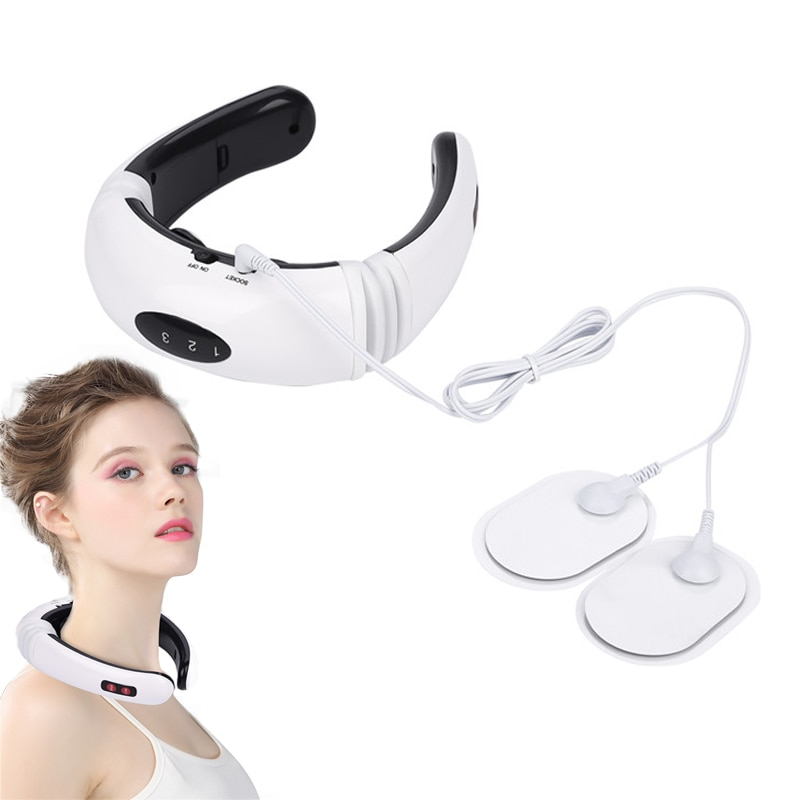 Electric Neck Massager & Pulse Back 6 Modes Power Control Cervical Massager Far Infrared Heating Pain Relief Tool Relax Device