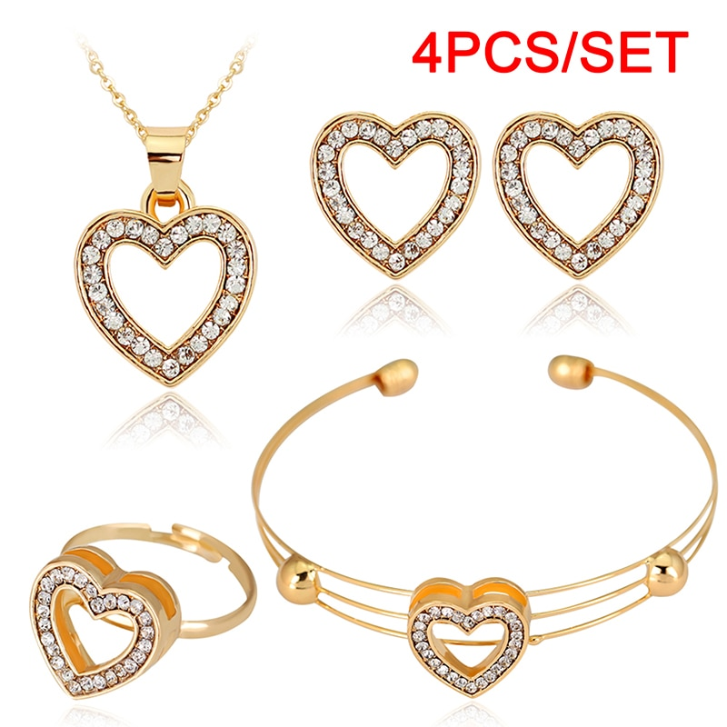 4pcs/lot Heart Shaped Bracelet Neclace Earrings Sets Jewelry Crystal Lovely Gold Color Jewelry Sets For Women Girl