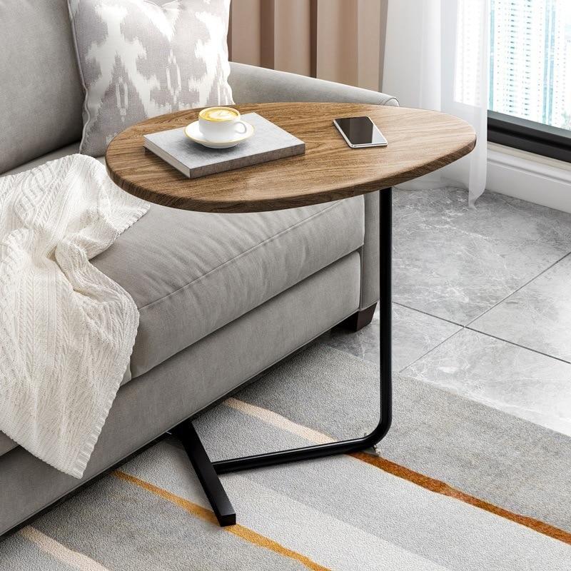 طاولة جانبية على شكل حرف C مع أرجل معدنية ، ديكور حديث لأريكة غرفة المعيشة أو الشرفة