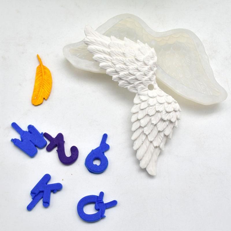 3D alas de Ángel pastel de Chocolate herramientas de decoración DIY pájaro plumas Fondant silicona molde cocina DIY herramienta para hornear
