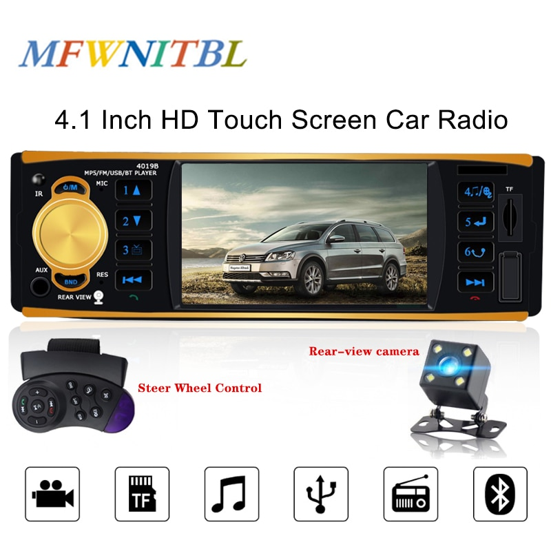 "Ltbfm 4019b rádio multimídia automotivo, 4.1 "", 1 din, som estéreo, bluetooth, reprodutor de áudio, mp5 player, rádio câmera usb aux fm,"