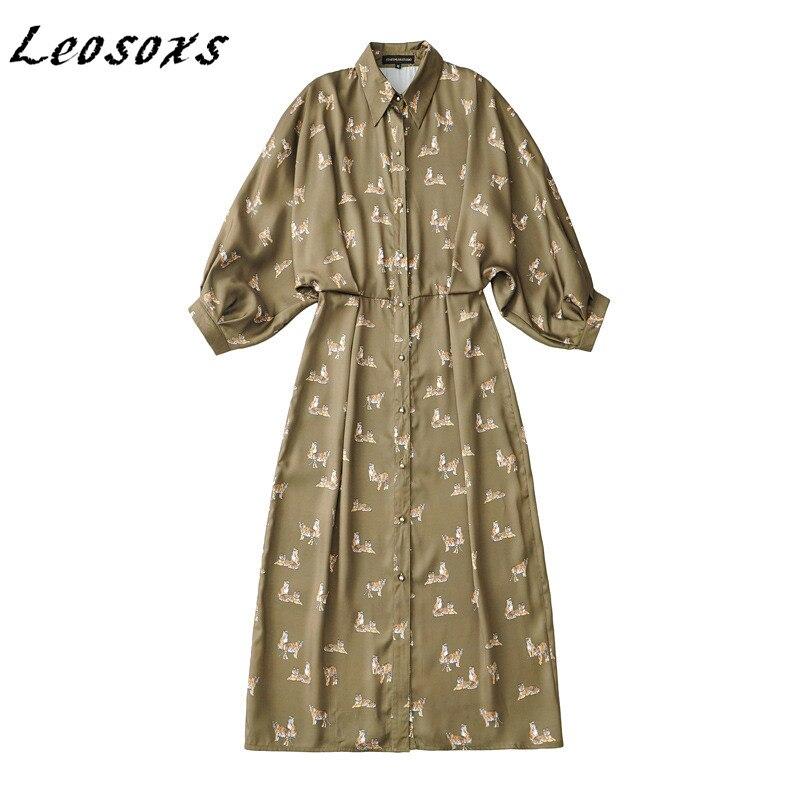 Leosoxs fashion design batwing sleeve robe temperament elegant print shirt dress women high waist slim dresses 2021 spring new
