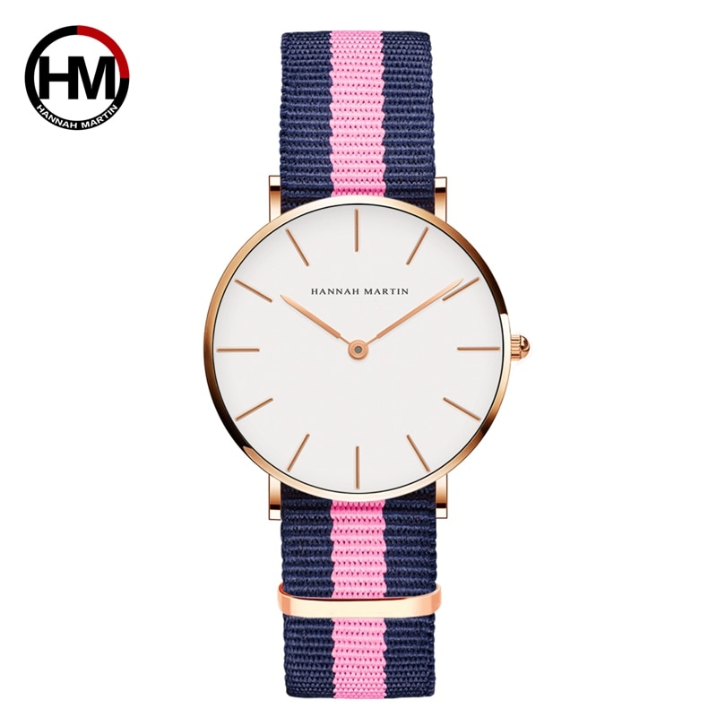 Классический розовый красный темно-синий нейлоновый ремешок японский кварцевый механизм модные повседневные наручные часы ткань тонкие холщовые наручные часы для женщин
