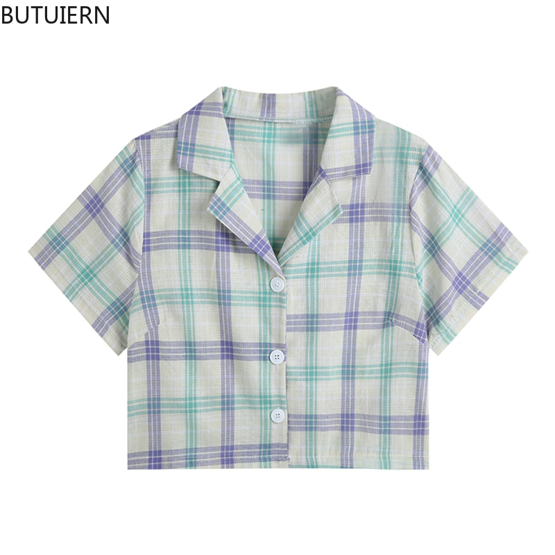 Short Sleeve Shirts Women Plaid Cardigan Crop Blouses Tops For Ladies Fashion 2021 Korean Streetwear Casual Elegant Sweet