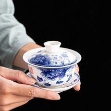 Porcelaine chinoise bleu-blanc gaiwan imprimé floral   Sous la soupière glaçure, tasse, bol, soucoupe, couvercle 150ml en vente