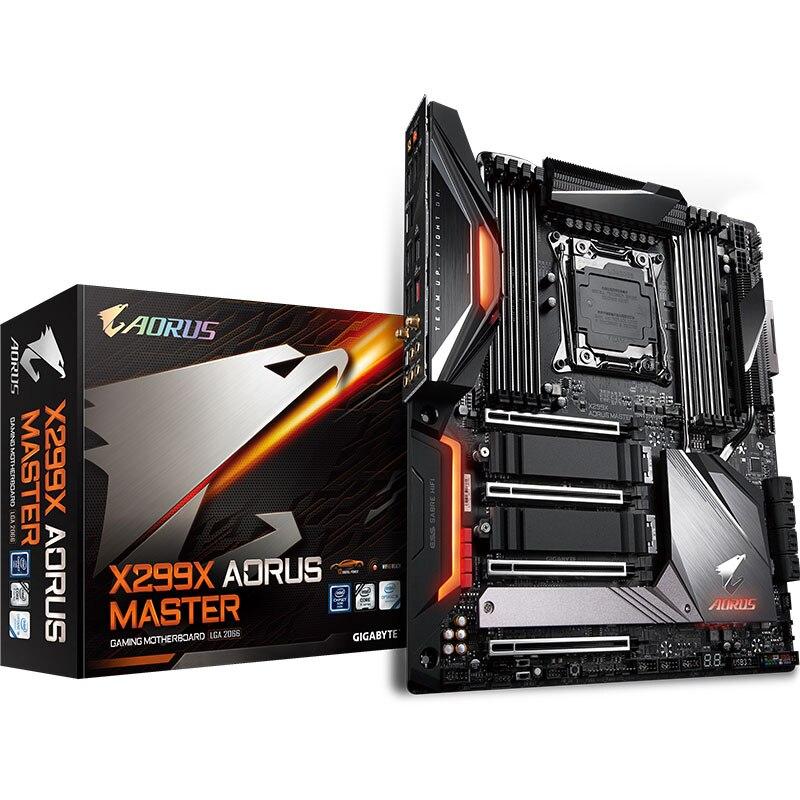 Novo x299 para gigabyte x299x aorus master workstation slot lga 2066 placa-mãe 4-way sli crossfire servidor estação de trabalho desktop