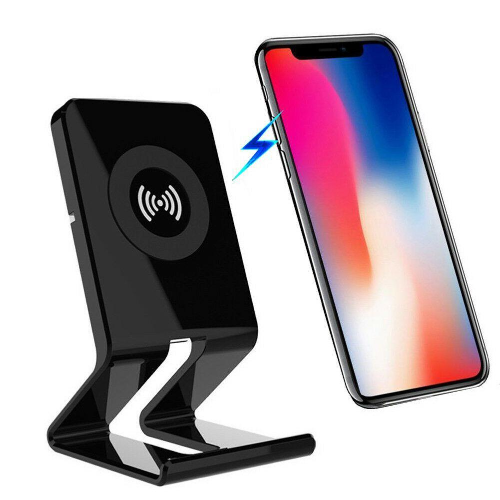 Qi cargador inalámbrico, base de carga, soporte de teléfono portátil para Samsung S8 S9 iPhone 7 8 X Plus Smartphone
