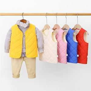 New 2021 children's down cotton vest boys and girls baby vests, children's plus velvet warmth, inner tank and outer jacket