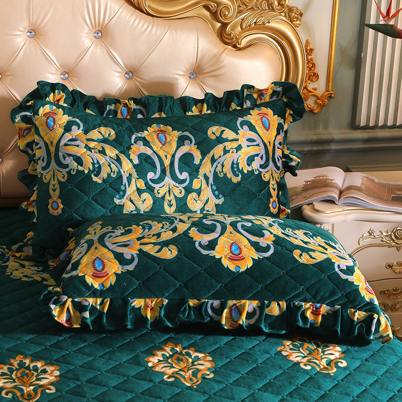 2pcs Floral Printed Crystal Velvet Pillow Case Cover Rectangle Home Decoration Quilted Couple Pillow Shams Soft 48x74cm
