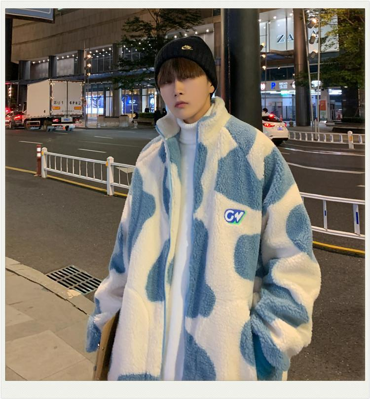 Lamb velvet jacket male version of Harajuku trend winter thickening couple wear streetwear top shirt youth sweatshirt 1200