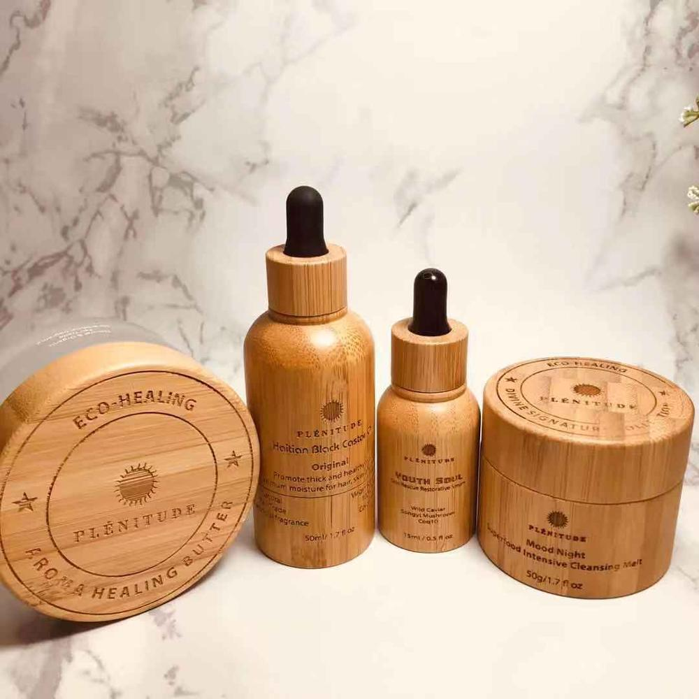 CBD logotipo personalizado, aceite de cáñamo, crema de bambú, tarro Biodegradable, 30g 50g, respetuoso con el medio ambiente, gafas de bambú orgánicas, tarros de madera para crema interna
