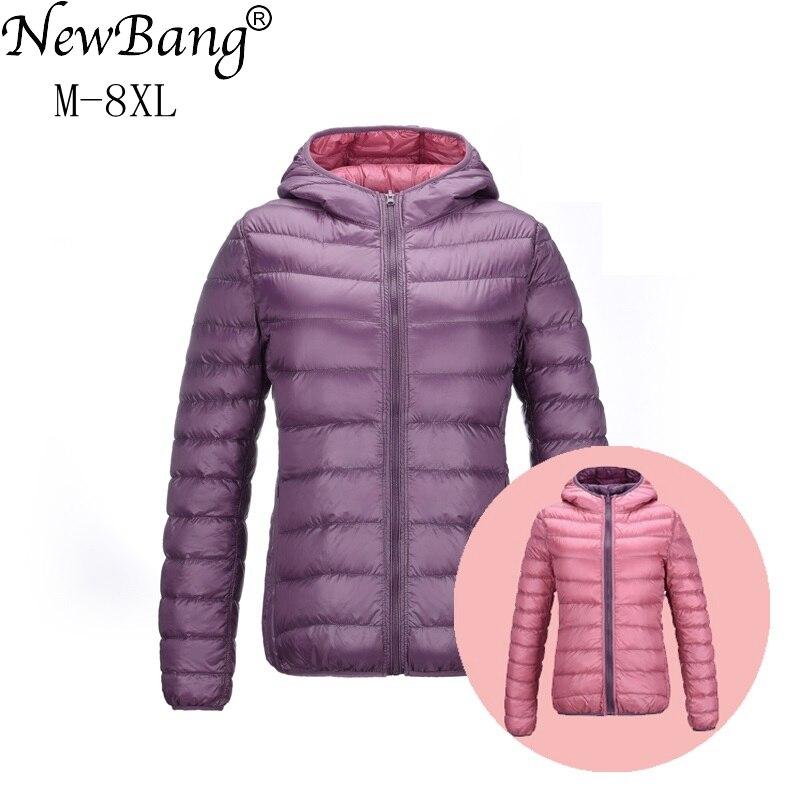 NewBang 7XL 8XL Unten Jacken Frauen Ultra Licht Unten Jacke Frauen Feder Jacken Doppel Seite Reversible Leichte Warme Mäntel