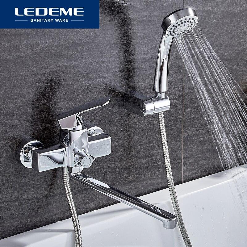 LEDEME الطراز الحديث 1 مجموعة حوض استحمام للاستخدام في الحمام صنبور الكروم النحاس الباردة والساخنة خلاط المياه الكروم دش الحنفية مقبض واحد L2254