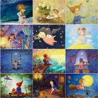diy 5d diamond embroidery mosaic cartoon girl dream paintings full rhinestone baby girl gifts pictures wall art home decoration