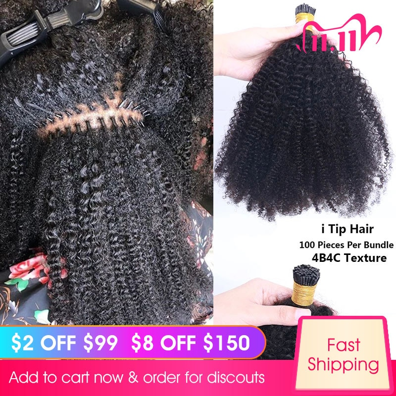 Mongolian Afro Kinky Curly I Tip Hair Extensions For Black Women Human Hair Bundles Weave Clip ins B