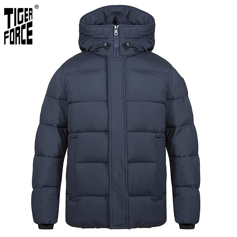 TIGER FORCE Men's winter jacket Hooded Mid-length fashion Parka men Down Jacket with Hooded Casual Thicken Warm Overcoat 70750