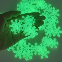 100pcs luminous snowflakestar wall sticker glow in the dark fluorescent snowflake for christmas new year home party wall decal
