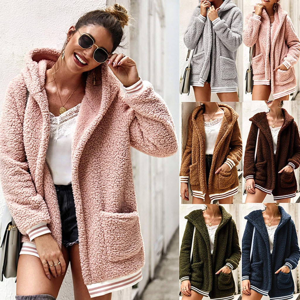 Womens Winter Fleece Long Sleeves Cardigan Hooded Pocket Keep Warm Coat jacket women coat women chaquetas mujer куртка женская
