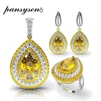pansysen luxury big gemstone citrine bridal jewelry set for women real 925 sterling silver engagemen necklace earrings ring set