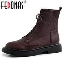 FEDONAS Neue Patchwork Echtem Leder Stricken Kurze Stiefel Frauen Stiefeletten Büro Schuhe Frau 2020 Winter Warm High Heels