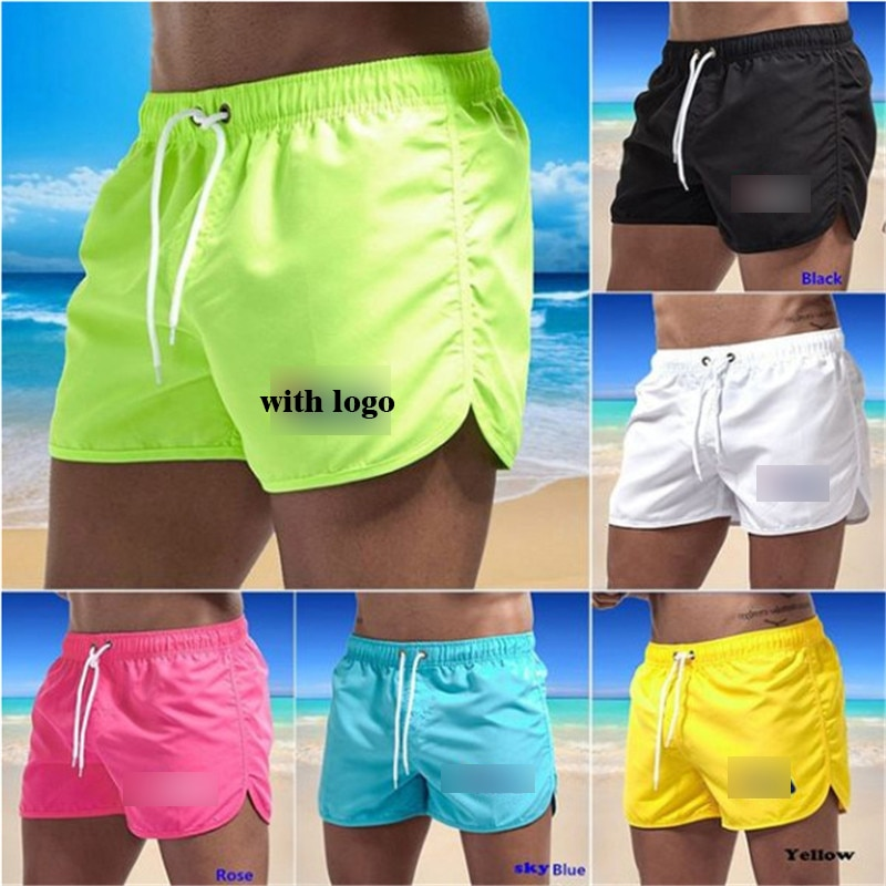 Summer Men's Swimwear Shorts Solid Beachwear Sexy Swim Trunks Men Swimsuit Low Waist Breathable Bath
