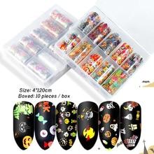 10 pièces Halloween ongle feuille ensemble Transparent AB couleur Nail Art transfert autocollant 2.5*60cm manucure bricolage coloré décalcomanies décoration
