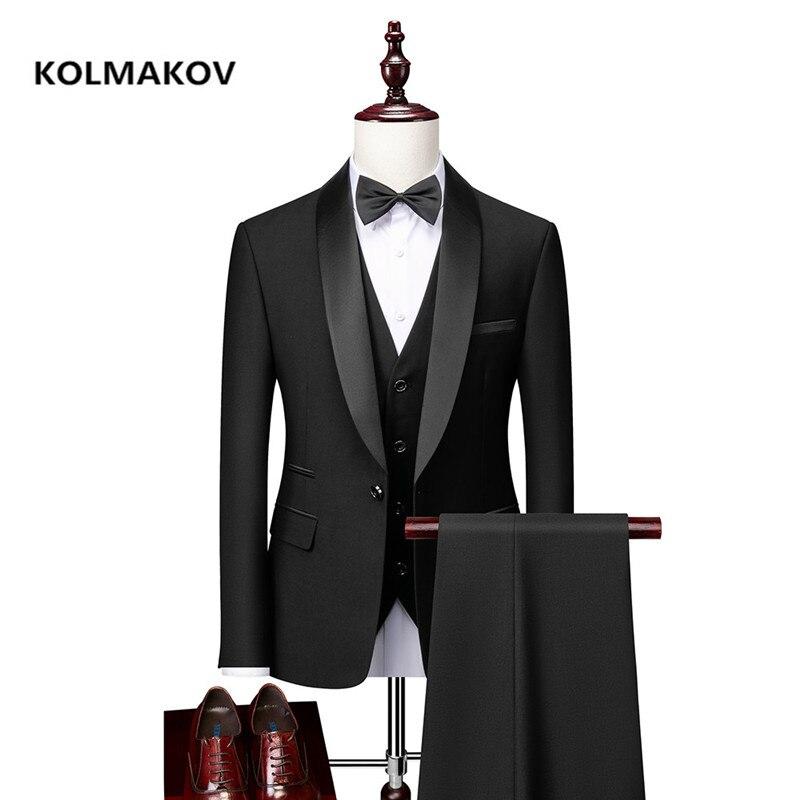 2021 جديد وصول دعوى عالية الجودة سليم صالح عادية الدعاوى الرجال ، الرجال فستان الزفاف ، فستان سترة معطف السراويل Vest.3 قطع مجموعة