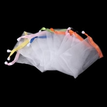 10x Soap Foaming Nylon Mesh Drawstring Bag Bubble Foam Net Bath Cleaning Gloves