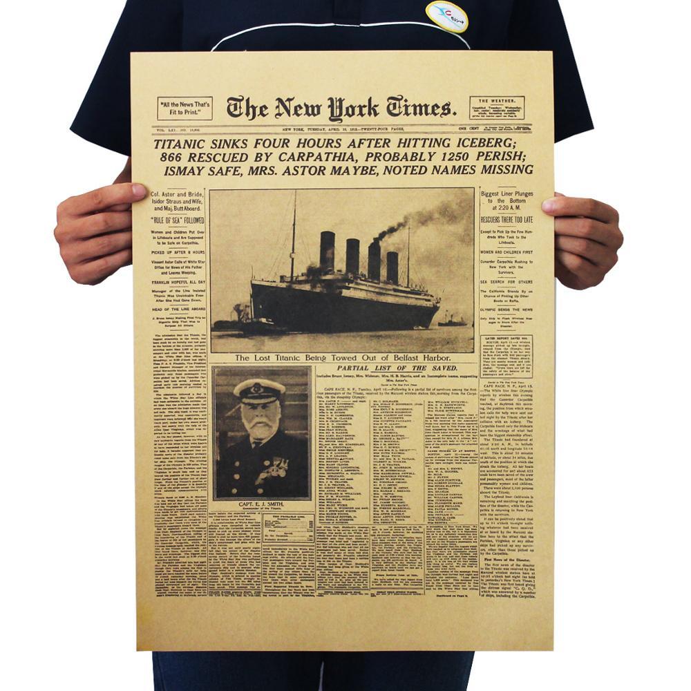 Vintage Movie De New York Times Posters De Titanic Zonk Krantenkoppen Posters Muurstickers Kamer Decoratie Schilderijen