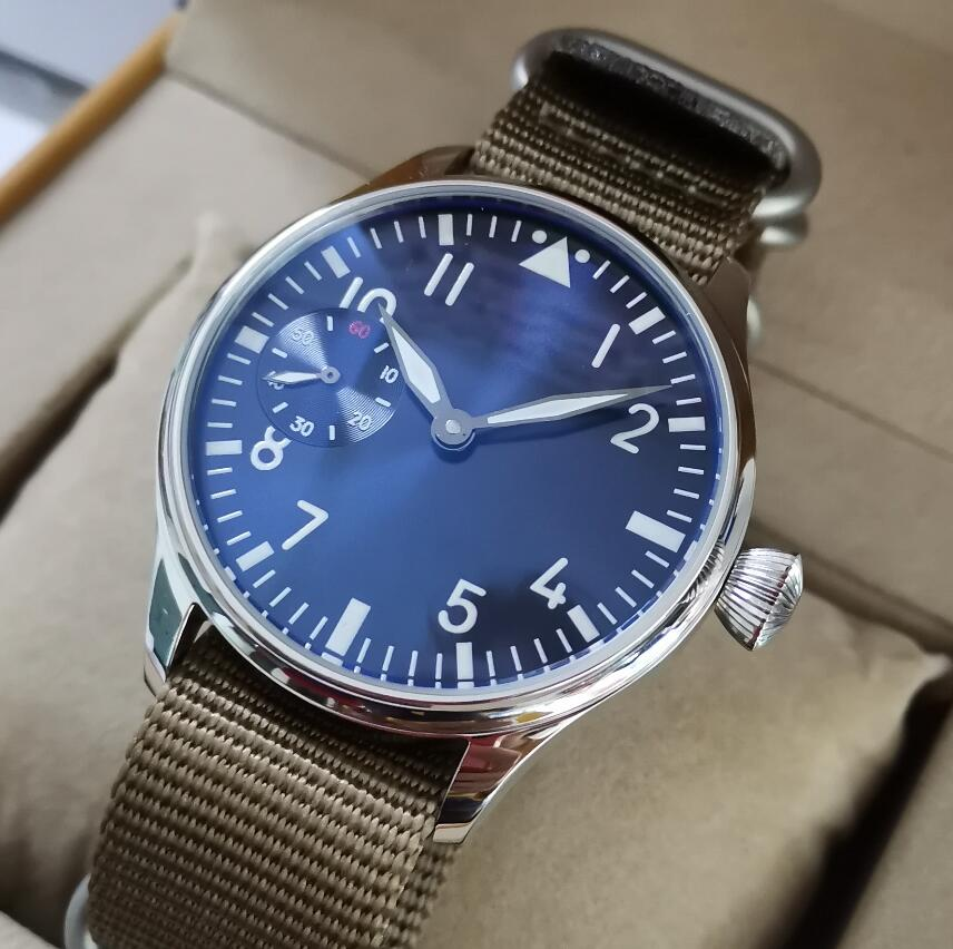 GEERVO No logo 44mm Manual mechanical mens Watch Blue dial thickening khaki Five rings Nylon strap Seagull ST3600-2 movement 97