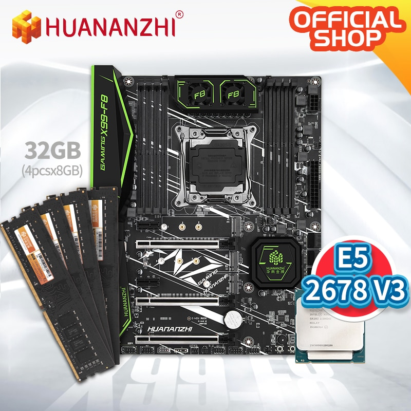 HUANANZHI X99 F8 X99 Motherboard with Intel XEON E5 2678 v3 with 4*8G DDR4 Non-ECC memory combo kit set NVME SATA 3.0 USB 3.0