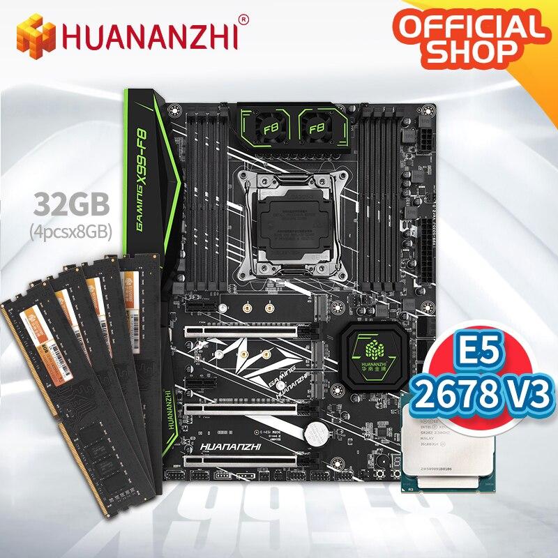 HUANANZHI X99 F8 X99 Motherboard with Intel XEON E5 2678 v3 with 4*8G DDR4 Non-ECC memory combo kit set NVME SATA 3.0 USB 3.0