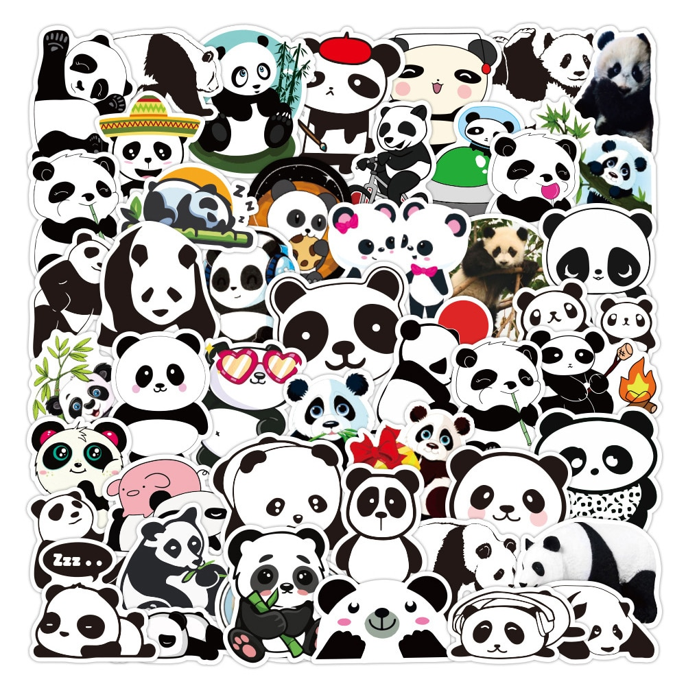 50PCS Cute Panda Sticker Gifts Toy For Kids Cartoon Animal Decal Stickers to Laptop Stationery Fridge Suitcase Luggage Guitar