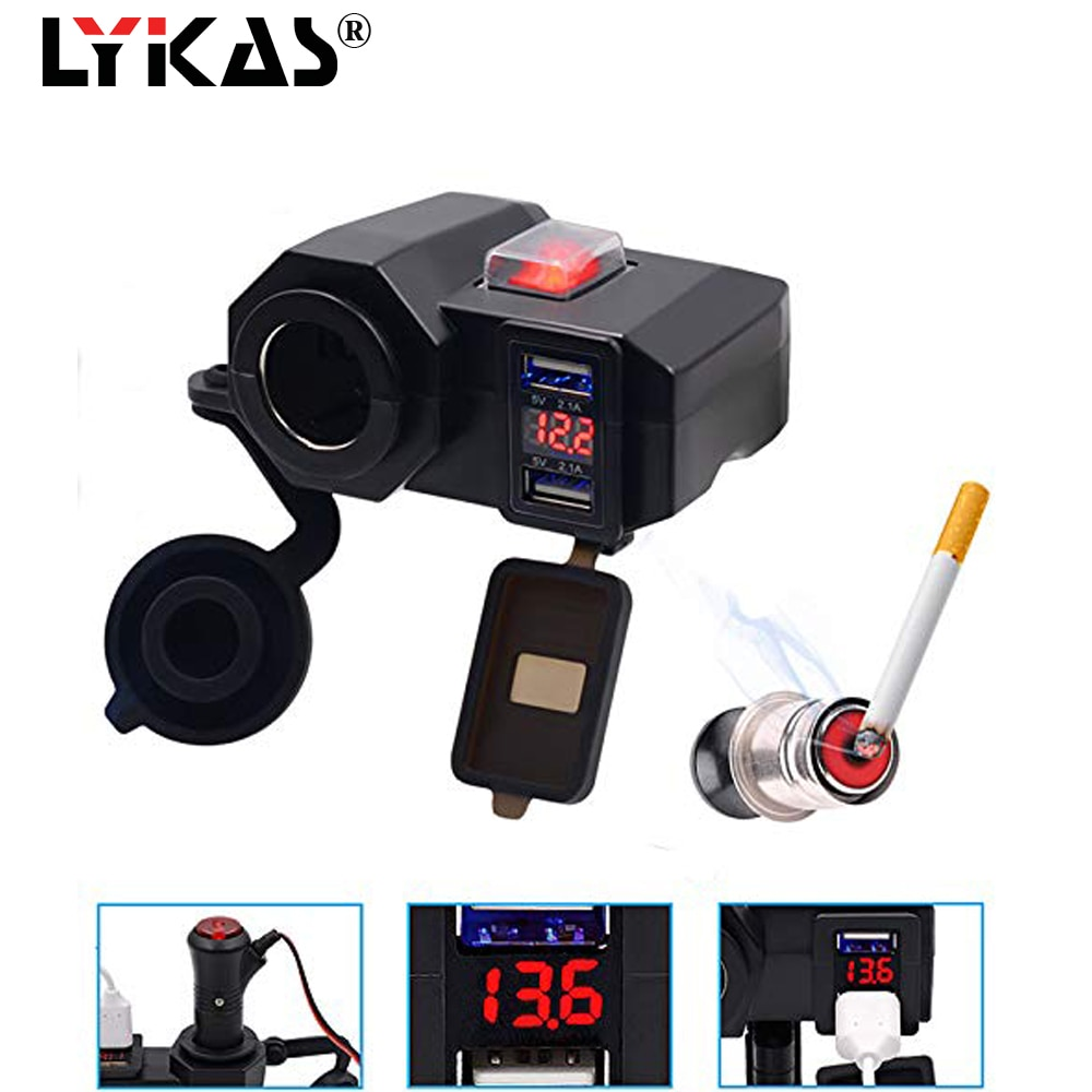 LYKAS Motorcycle Dual USB Charger Cigarette Lighter with Led Voltmeter Display Waterproof Handlebar   Power Adapter charger uninterruptible power energy гарант 2000 economical idle running colored led display