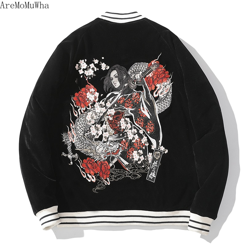 New Embroidery Yokosuka Cotton-padded Sword Girl Men's Women's Couples Japanese Tide Brand Retro Rock Cotton-padded Clothes