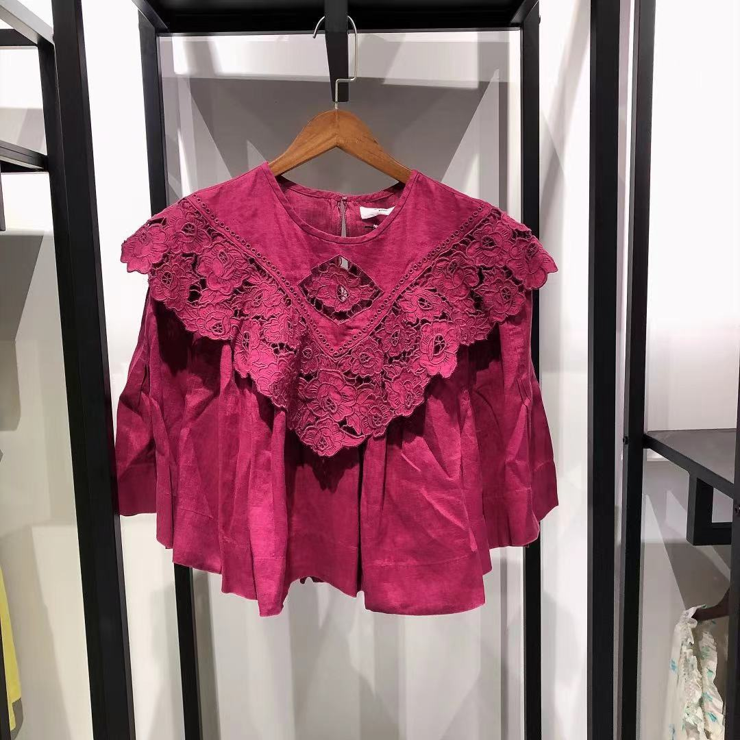 2021 early autumn new hollowed-out embroidered leaf edge loose stitching general hemp fabric lace blouse enlarge