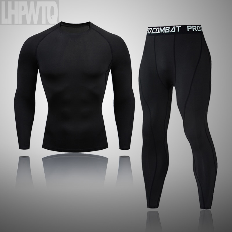 New Men Thermal Underwear Sets Compression Fleece Sweat Quick Drying Thermo Underwear Men Clothing L
