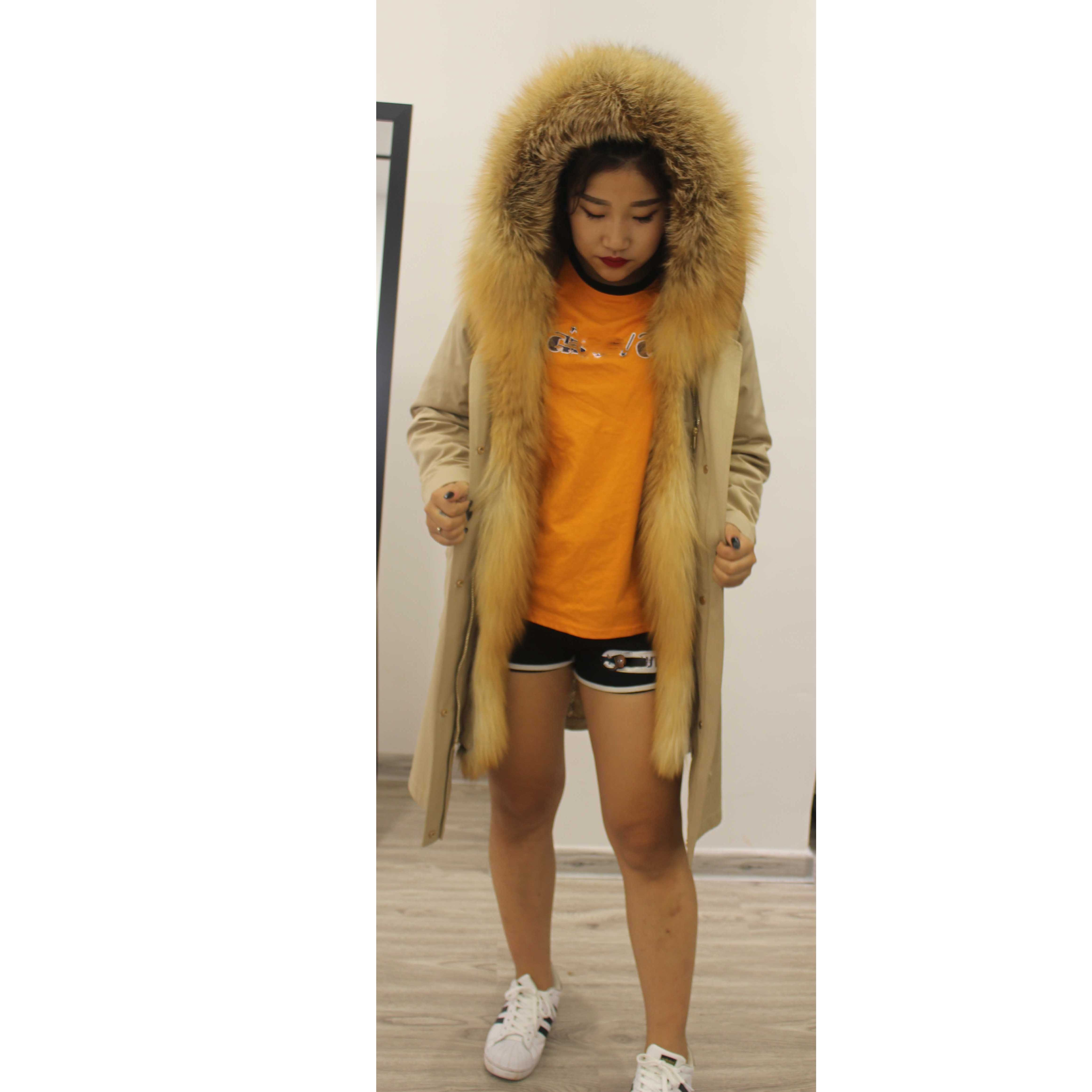 Linhaoshengyue-معطف فرو نسائي ، معطف فرو ثعلب حقيقي ، ياقة بغطاء للرأس ، معطف فرو أرنب بطول 90 سنتيمتر